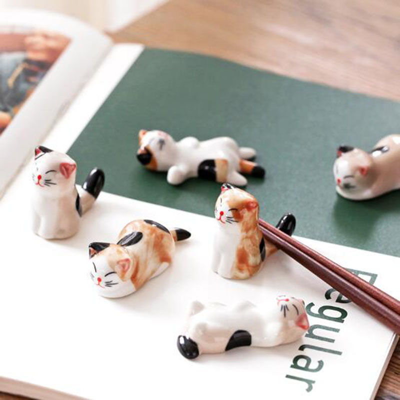 6piece/set Cute Ceramic Cat Pen Holder Chopsticks Holder Tohold Desktop Ornaments Home Ware Chinese Painting Supplies