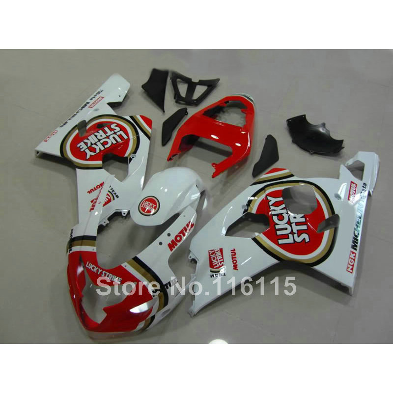 Hot sale fairing kit for SUZUKI GSXR 600 750 K4 2004 2005 red LUCKY STRIKE bodykits GSXR600 GSXR750 04 05 fairings set LF65 brelil bio traitement homme after shave balm освежающий бальзам после бритья для мужчин без содержания спирта 150 мл