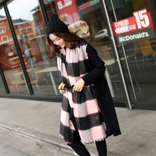 homewarm Winter Women Scarves Large Tartan Scarf Pashmina Warp Desig Shawl Acrylic Black Checked Bandana