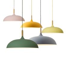 Luces colgantes minimalistas nórdicas para Bar, cafetería, restaurante, pantalla de aluminio E27, lámparas colgantes de colores AC110V/220V