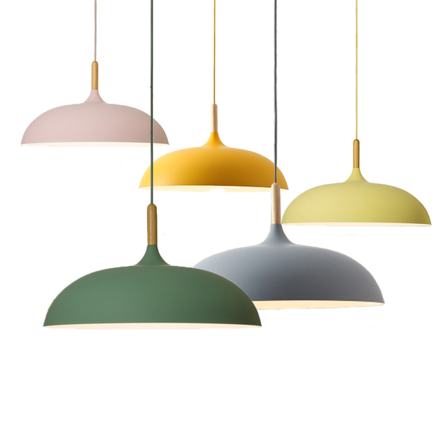 Nordic Minimalist Pendant Lights  Bar Cafe Restaurant E27 Wood Aluminum Lampshade Colorful Pendant Lamps AC110V/220V
