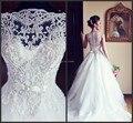 На заказ совок роскошные бисероплетение видеть сквозь свадебные платья noiva тюль платье-линии кантри-свадебные платья