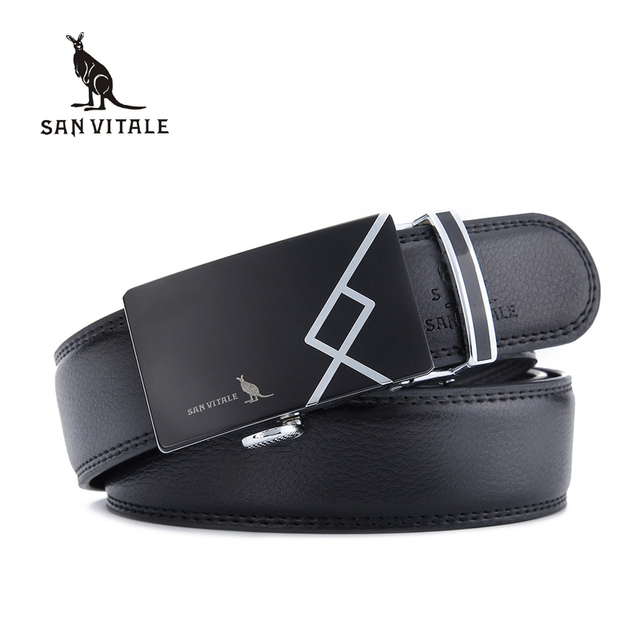 SAN VITALE New Designer Men Belts Real Cowskin Genuine Leather Luxury Automatic Buckle Strap Male Belt for Man Cintos Masculinos