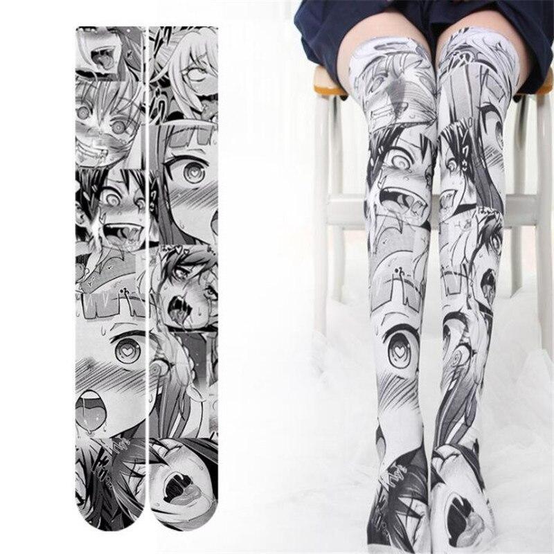 Anime Thigh High Sock Caricature Cartoon Figure Printing Stocking Cosplay Costumes Accessories TuiWa Fancy Socks Velvet