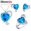 Silver Plated Jewelry Set Rhinestone Cubic Zirconia Azul Corazón Collar Pendientes Anillos Tamaño 789 Cumpleaños Nupcial Jewellry T269