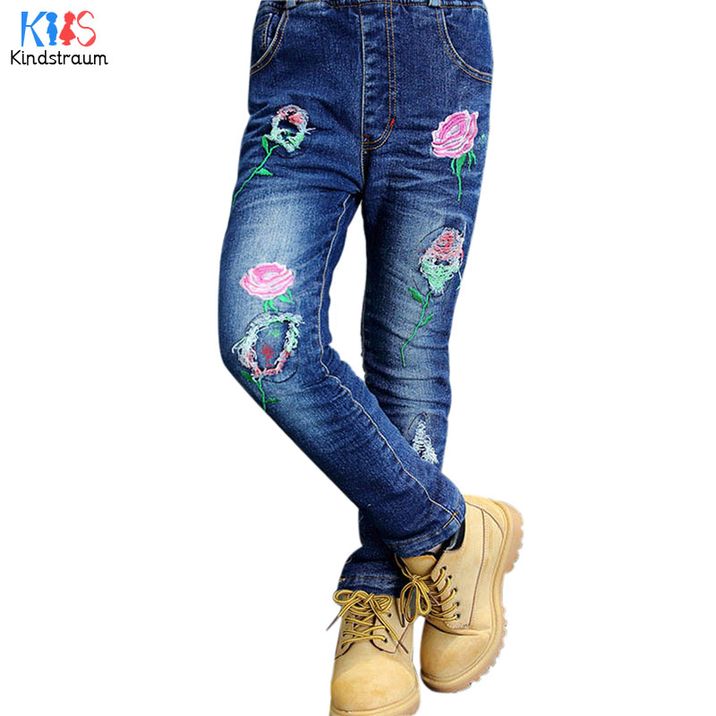 Kindstraum 2018 New Children Thick Cotton Pants Super Warm Kids Print Denim Trousers Winter Flowers Wear for Girls,RC1019