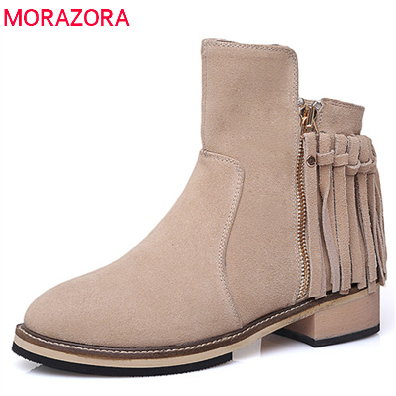 MORAZORA Tassel solid zip ankle boots for women genuine leather boots fashion shoes in spring autumn womens boots big size 34-40