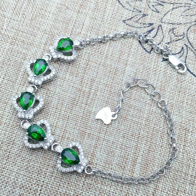 2017 nova moda crown pulseira de pedras preciosas 5 pcs 4*6mm natural diopside pulseira para a mulher elegante presente de aniversário para a menina