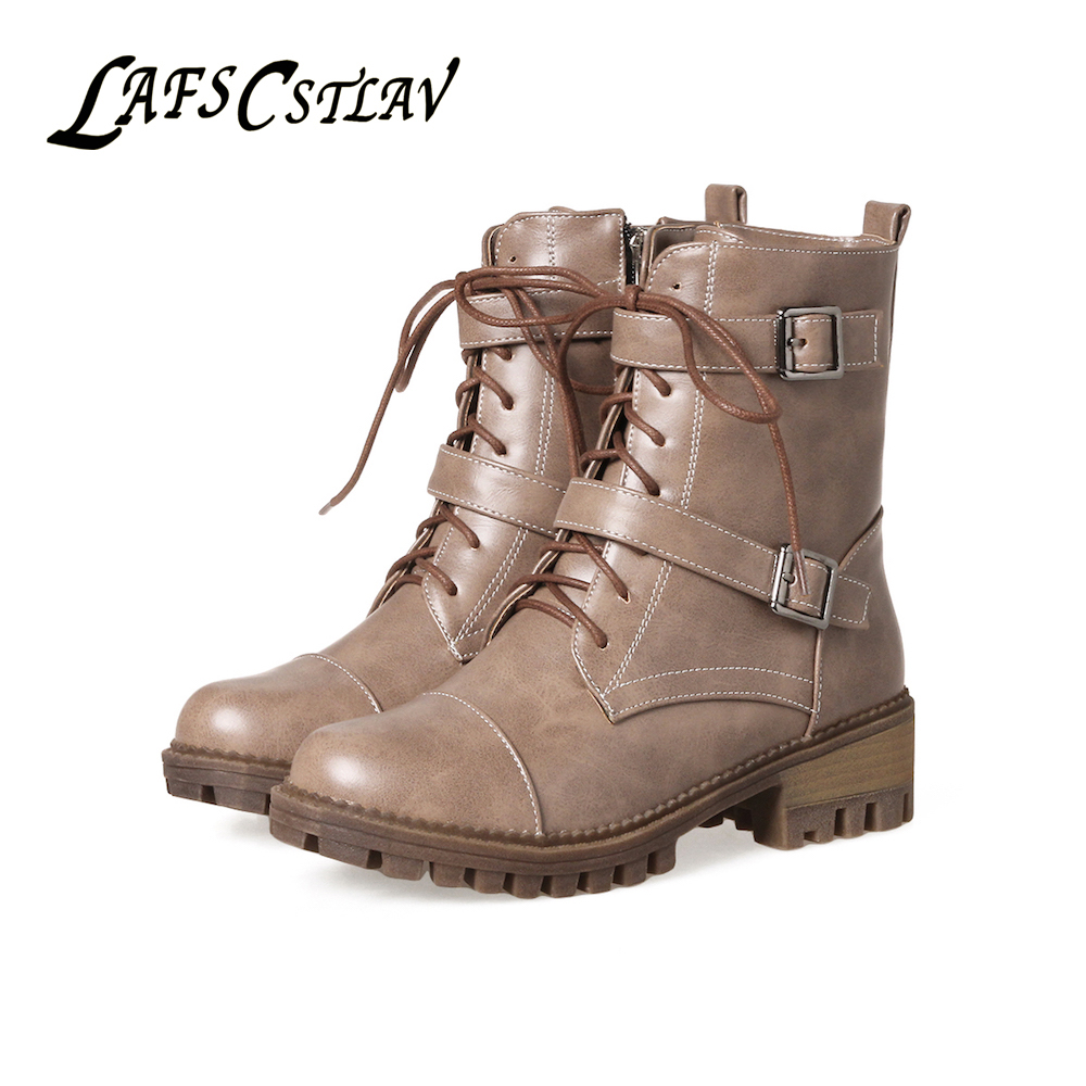 LAFS CSTLAV Lace Up Platform Ankle Boots for Women Motorcycle Combat Boot Zipper Warm Med Heel Winter Autumn Casual Shoe Woman ...