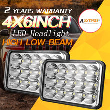 "Auxtings 2PCS 4X6""inch LED headlight 45W Spot Work Light Sealed High-Low Beam H4 Driving Headlight Truck 12V 24V For Jeep(China)"