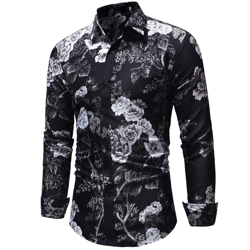 e3c018f6 2018 Retro Floral Printed Man Casual Shirts Fashion Classic Men Dress Shirt  Breathable Men'S Long Sleeve Brand Clothing XXXL | Mikes Wholesale Mart