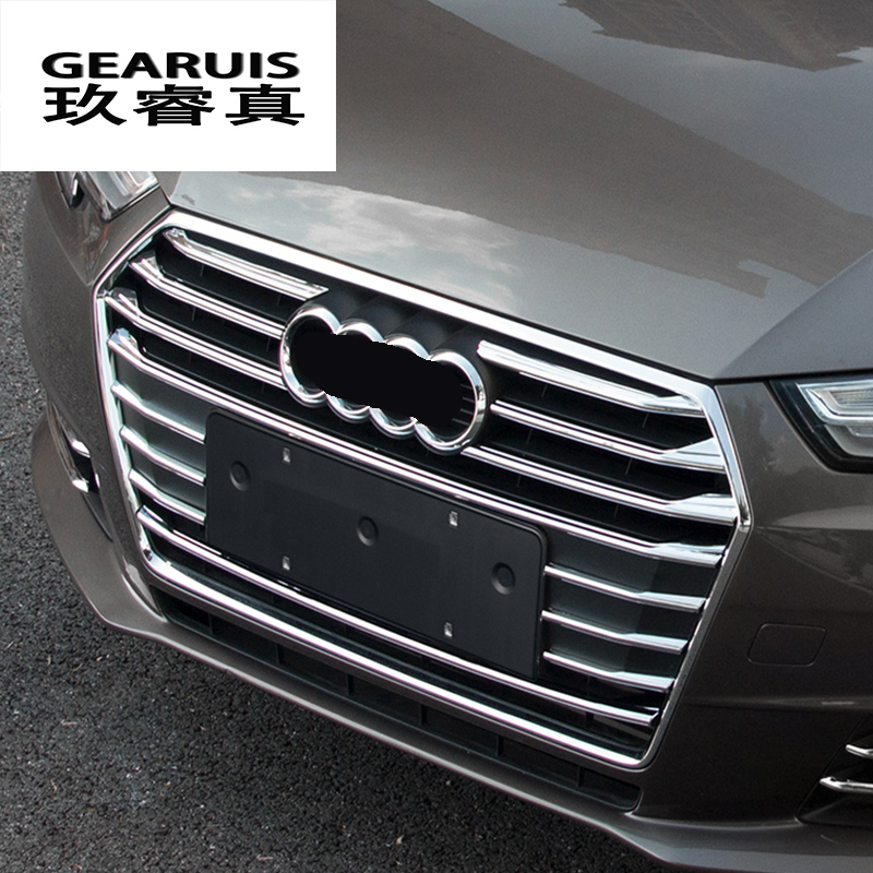 Car styling Front Middle Grill Grids Trim Strips Car Styling Bumper Sticker Modification Accessories For Audi A4 B8 B9 2009-2017 free shipping 2pc lot car styling car led lamp canbus bay9s rear fog lamp for audi a4 avant 8k5 b8 8w5 b9