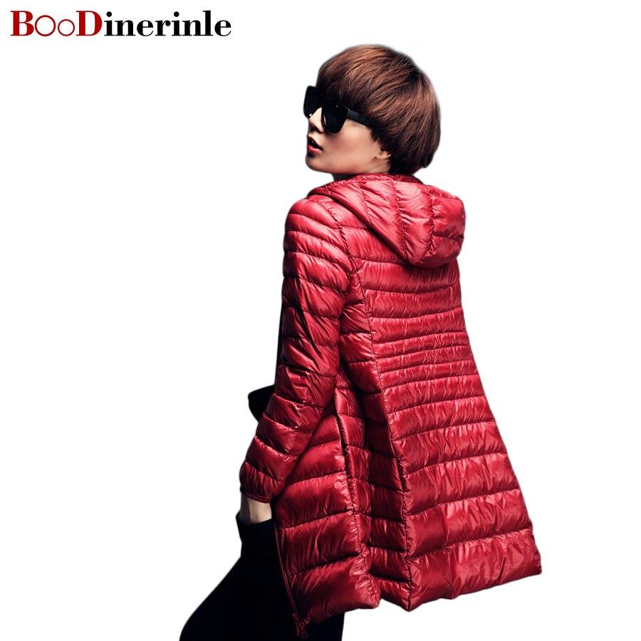 Boodinerinle длинные ультра легкий утка Подпушка куртка 2017, женская обувь осень-зима с капюшоном плюс Размеры 6xl тонкий 90% Парка на пуху пальто B001