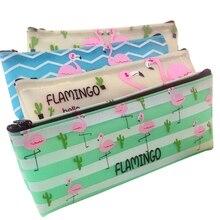 Купить онлайн 12 шт./лот Новая мода Фламинго кактус водонепроницаемый карандаш мешок ручки сумки Kawaii билет мешок хранения хороший подарок для детей коллекция