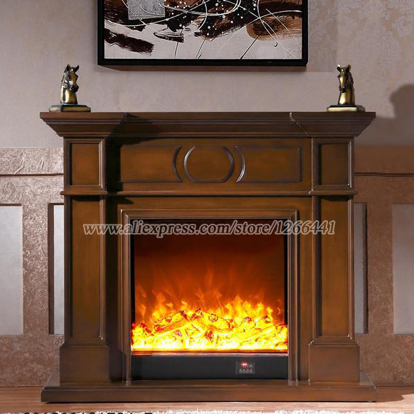decorative heating fireplace set wooden mantel W120cm plus