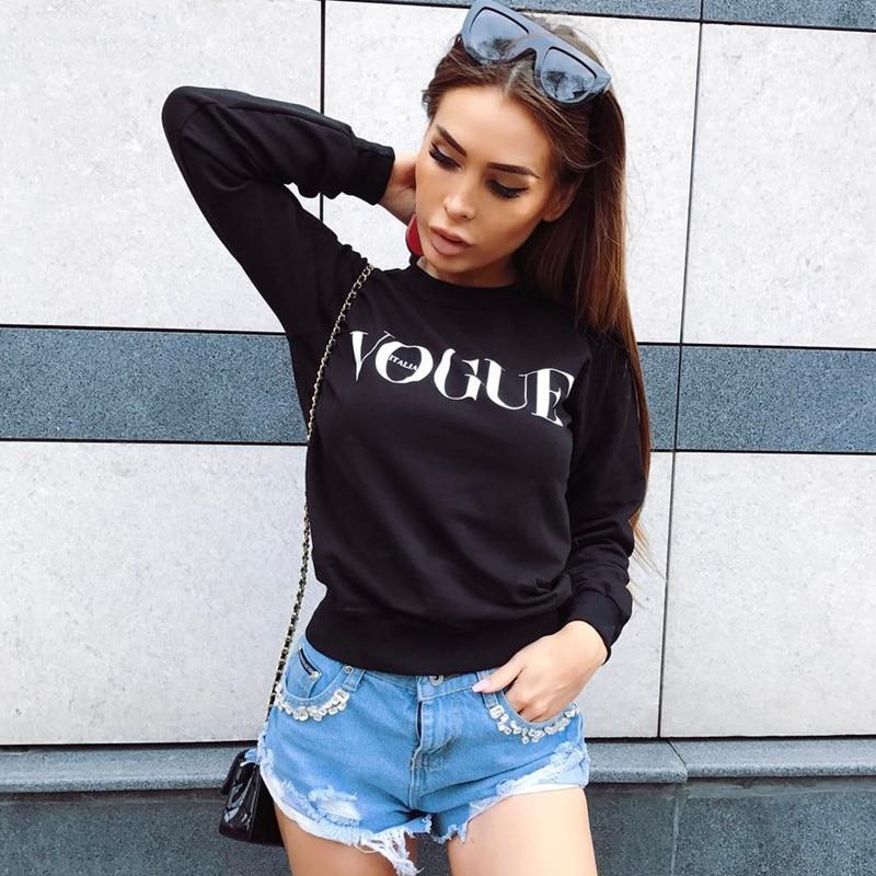 2017 Women Fashion Brand Hoodie VOGUE Letter Print Sweatshirt Knitted Long Sleeve Pullovers Polerones Mujer Harajuku Tops