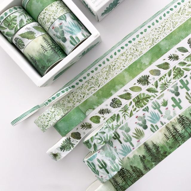 8 Pcs/pack Green Plants Cactus Bullet Journal Washi Tape Set Kawaii Paper Adhesive Tape DIY Scrapbooking Sticker Label Masking