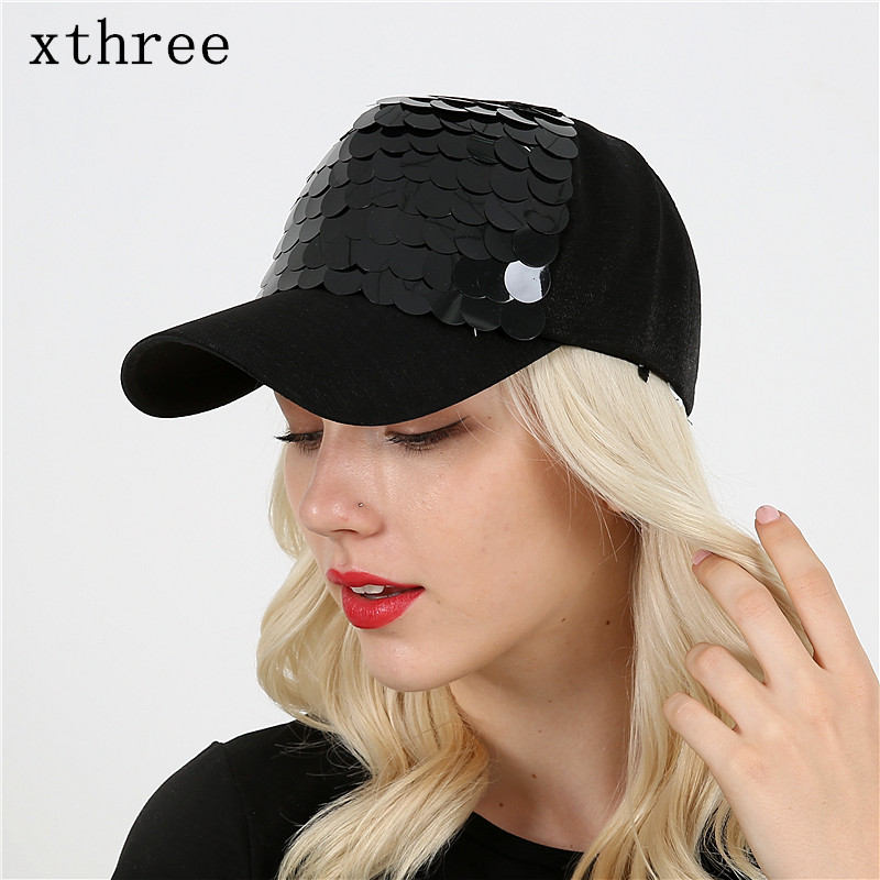 Xthree Shining baseball cap 5 panels spring snapback hat for women hip hop casquette gorras bone xthree faux leather baseball cap embroidery deer snapback hat hip hop casquette bone men hats for women