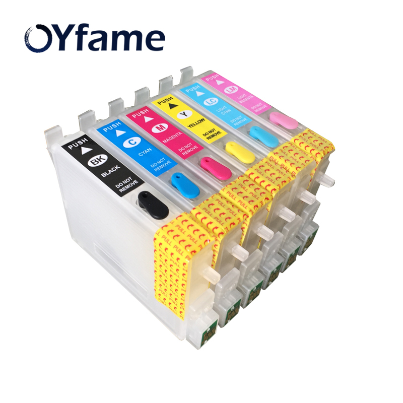 OYfame T0481-T0486 Refillable ink cartridges With ARC chip for Epson Stylus Photo R200 R300 R300M R320 R340 RX500 RX600 RX620 image