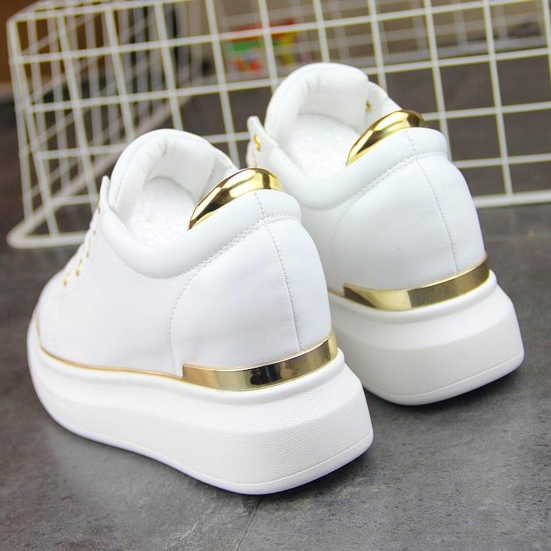 2018 Hidden Heels Women Platform Wedge Sneakers Ladies Leather Golden Silver White Shoes Female Krasovki Tenis Feminino Casual