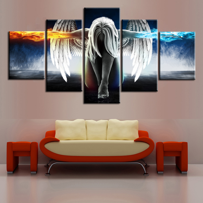 5 Panel Unframed Large Printed Magic Angel Fire Wing Oil Painting Picture Decoracion Canvas Wall Art For Living Room