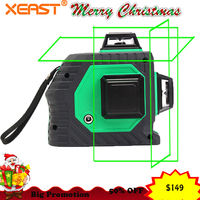 Xeast 12 lines Green beam 3D 360 degree Rotary Wall Multi cross Line Auto Self Leveling Laser Level meter tool machine
