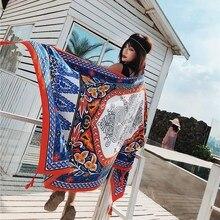 Female Long 180*90cm Totem Print Scarf Summer Versatile Sun Shawl Oversized Beach Towel Twill Cotton Scarves Wraps