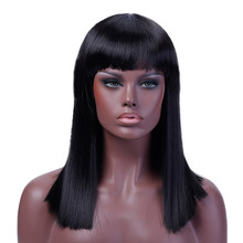 DIFEI Short Straight Black Wigs for Women Heat Resistant Synthetic Hair Natural Brown Cosplay Party Wigs Costume Free Wig Cap(China)