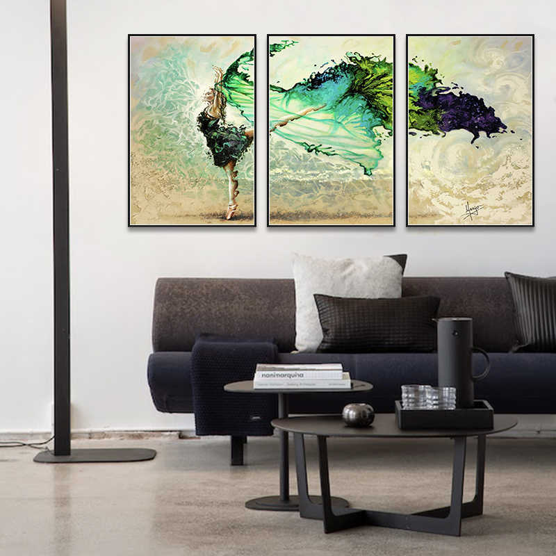 3 Pictures one Set Modern Green Dance Girl Poster and Prints Canvas Print Painting Art Wall Pictures for Living Room Home Decor