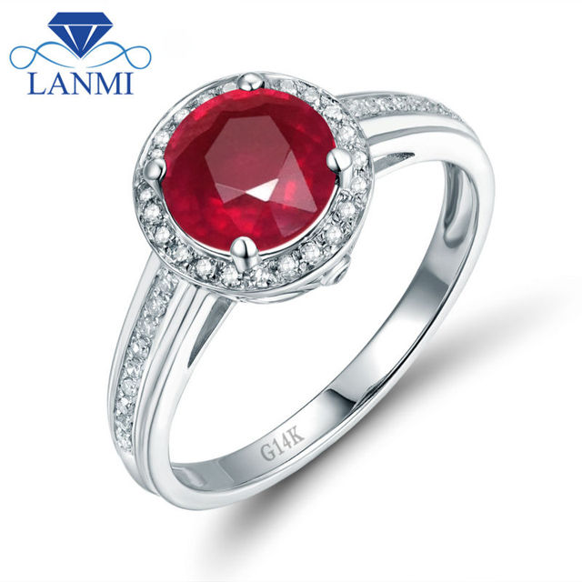 e92d14bc4ea Elegant Design Solid 14K White Gold Real Diamond Natural Ruby Anniversary  Ring for Party Jewelry WU302C