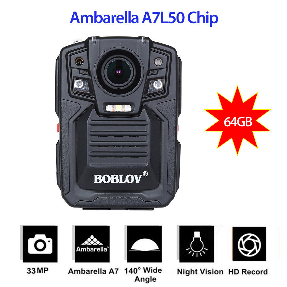 цена на BOBLOV HD66-02 Ambarella A7 Police Camera IR Night Vision Video Recorder 64GB Remote Control Body Worn Camera Camcorder HD