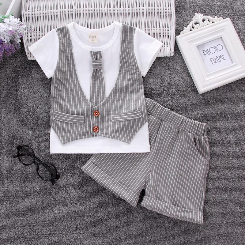 2018 New Summer Boys Clothes Gentleman Suits Kids Short SleeveT-shirt Fake Vest+ Pant 2Pcs Boy Tracksuit Children Clothing Set