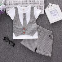 Summer Boys Handsome Gentleman Suits 2017 Summer New Baby Boy Clothes 1 2 3 Years Striped