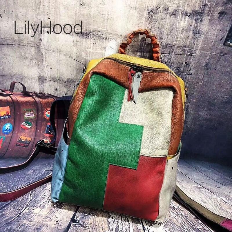 Patchwork Cow Leather Backpack Man Casual Vintage Genuine Leather Knapsack Female School Cowhide Leather Retro Packsack Bookbag