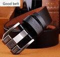 2016 de diseño de alta calidad de la marca de lujo pin hebilla cinturones de cuero genuino para los hombres de negocios de moda hombres cinturones cinto masculino