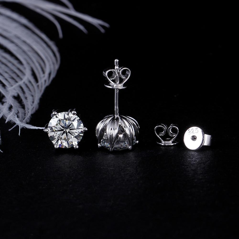 DovEggs زهرة على شكل البلاتين Pltated الفضة 2CTW 6.5 مللي متر H اللون المويسانتي أقراط للنساء الزفاف ابعاد-في الأقراط من الإكسسوارات والجواهر على  مجموعة 3