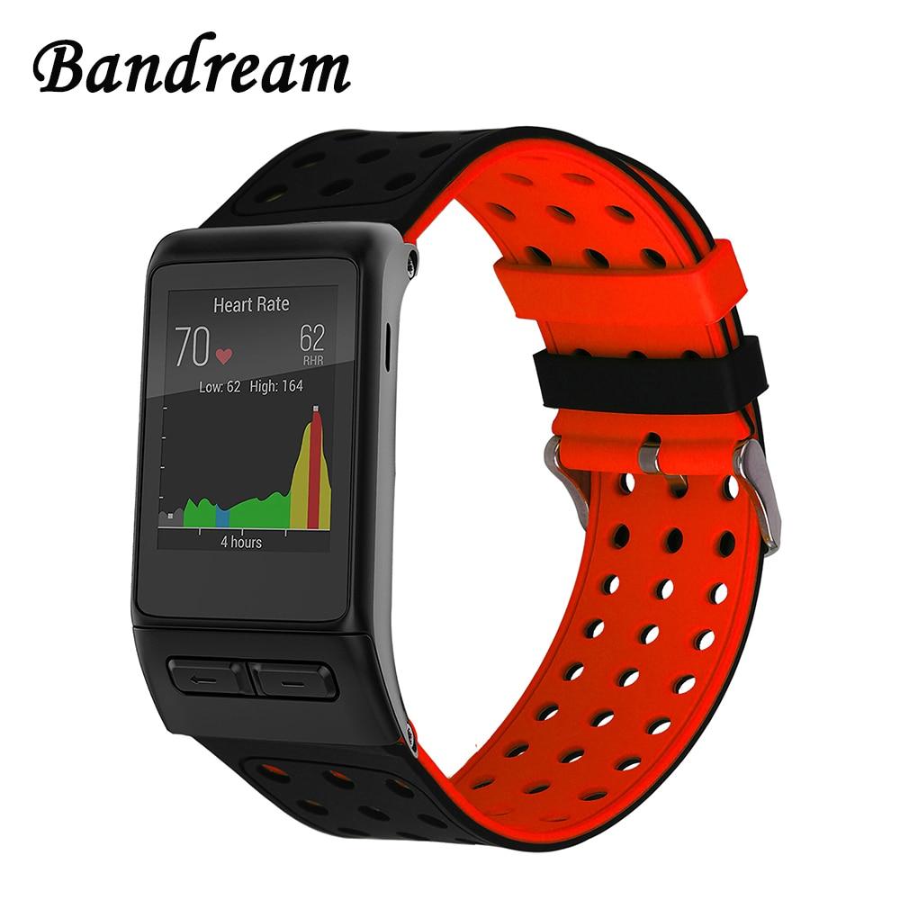 все цены на Silicone Rubber Watchband Double Color Wristband for Garmin Vivoactive HR Smart Watch Band Wrist Strap Sports Bracelet Black Red онлайн