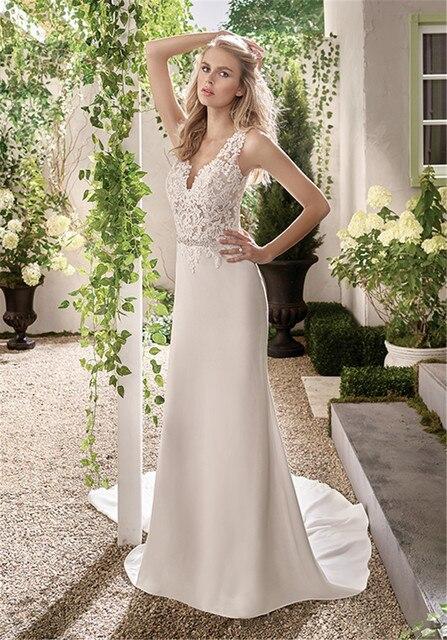 Bestickte Spitze Einfach Schöne Brautkleid mit Sheer Zurück und ...
