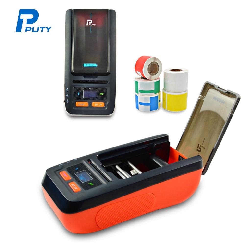 PT-66DC Portable Bluetooth Sticker Label Printer 50mm Mini Thermal Transfer Printers Waterproof Labeling Printing Machine