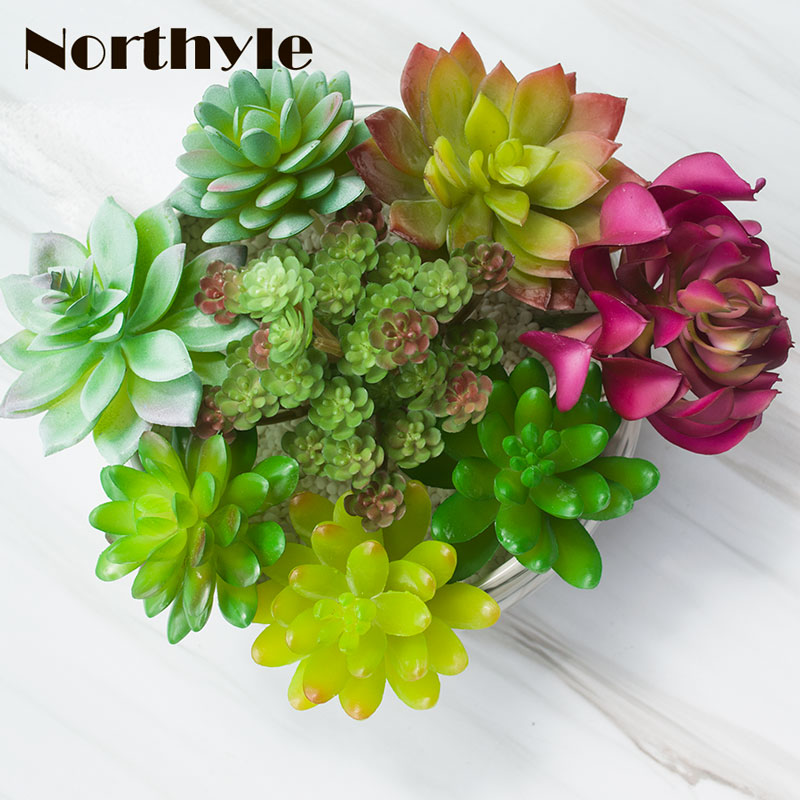 Northyle real touch lotus succulents series fake Fleshy Botany Green Planting artificial flowers ornaments diy garden decoration
