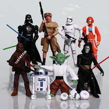 High quality 8pcs set Star Wars Figure Stormtrooper Darth Vader R2D2 Yoda Black Knight Clone Trooper