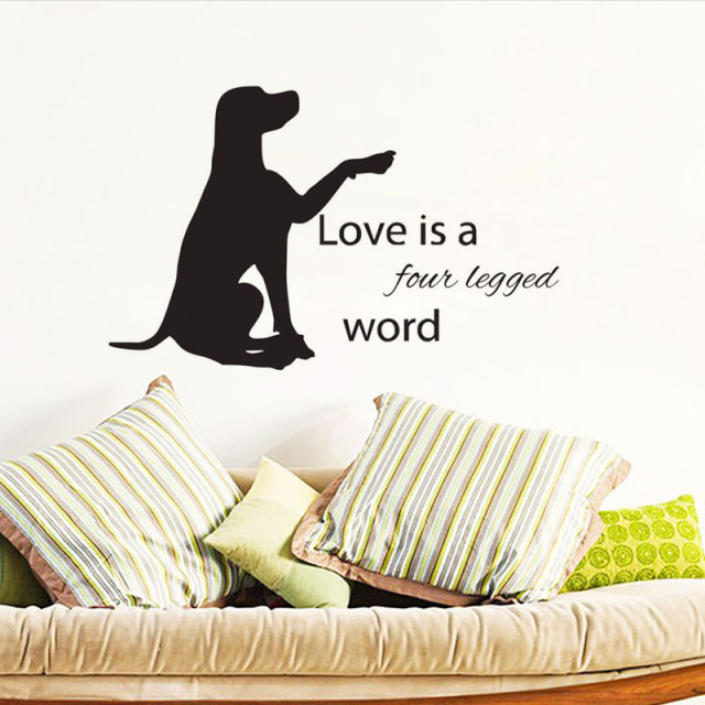 Love Is Four Legged Word Wall Stickers Quotes Diy Animals Decor Labrador Dog Decals