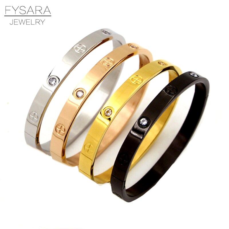 FYSARA Fashion Jewelry Lover Couple Bracelet Stainless Steel Gold Color Love Cross Screw Bracelet & Bangle For Men Women Jewelry