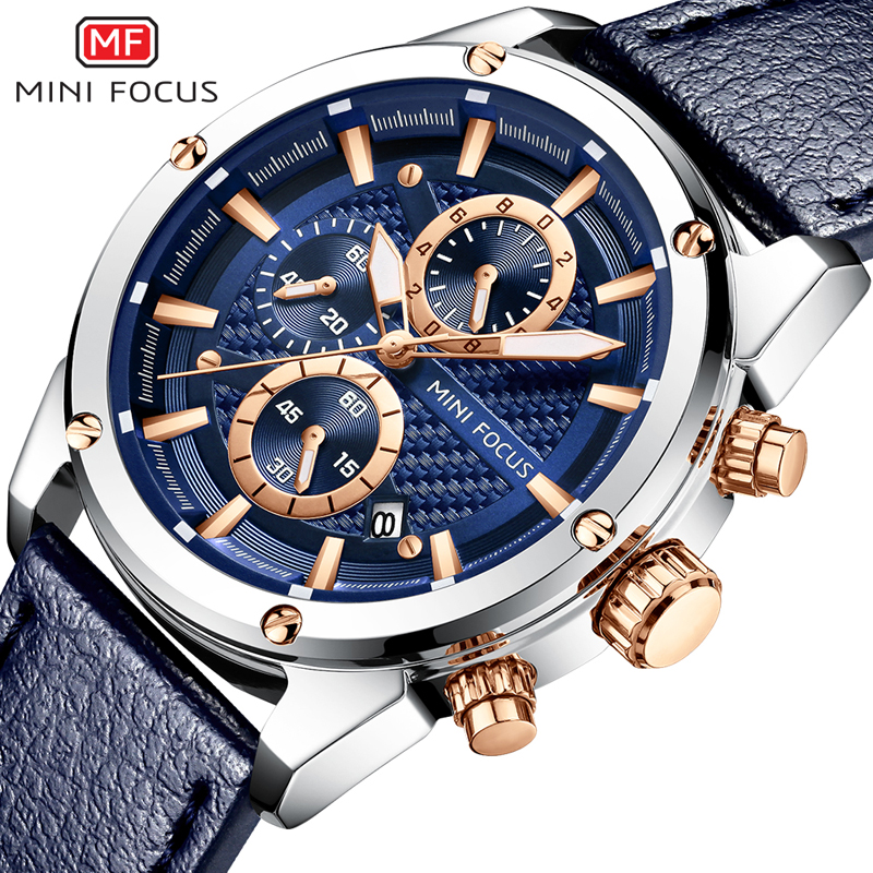 292fb235599 MINIFOCUS Relógio Do Esporte Dos Homens À Prova D  Água Pulseira de Couro  relógio de Pulso dos homens do Cronógrafo de Quartzo Relógios de Pulso  Homens ...