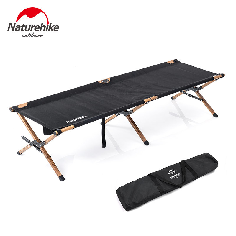 Naturehike Camping Mat Marching Bed Aluminum Wood Grain Alloy Folding Bed Outdoor Portable Storage Single Bed Outdoor Travel Bed