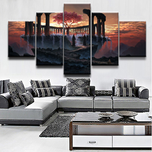 Landscape Poster 5 Panel Fantasy Cloud Mountain Sky Sunset Tree Painting Canvas Print Picture Home Decor Living Room Wall Art