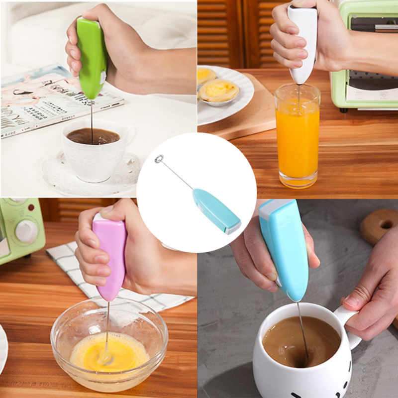 1pc Milk Drink Coffee Whisk Mixer Beater Electric Handheld Home Kitchen Egg Beater Mini Stainless Steel Egg Coffee Tea Mixer