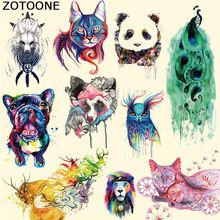 ZOTOONE New Design Pretty Watercolor Animal Patch Cat Dog T-shirt Dresses Sweater Thermal Iron on Transfer for Clothing F
