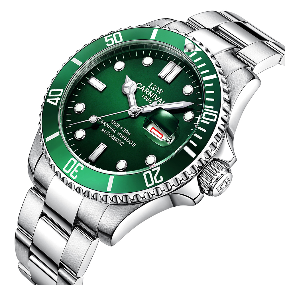 Carnival Sapphire Automatic Mechanical Watch Men silver Stainless steel waterproof green dial Watch relogio feminine fashion 40mm pranis silver dial full stainless steel sapphire glass automaic self wind mechanical men s business watch