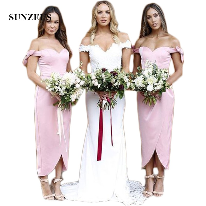 Ankle Length Satin   Bridesmaid     Dresses   Sweetheart Off the Shoulder Bow Charming Wedding Party   Dress   Front Slit Prom Gowns SBD50
